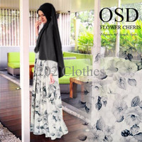 Baju Gamis Wanita Gamis Katun Jepang Gamis OSD WHITE ROSE
