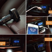 Jual 4 in 1 USB Car Charger, Ampere-Voltmeter-Temperatur Meter Display Biru Murah