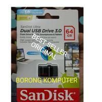 Jual SanDisk Dual USB Drive 3.0 64GB | OTG Android PC Flashdisk 64 GB Ultra Murah