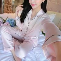 Baju Tidur Baju Santai Wanita Silk Satin Celana Lengan Panjang - Pink
