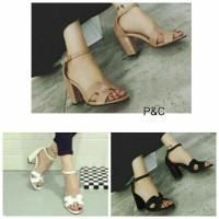 Sepatu High Heels Wanita 3 Warna Casual Ankle Strap Pusat Sepatu M