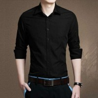 harga Kemeja Hem Pria Cowok Black Hitam Polos Korea Murah Keren Style Bas Tokopedia.com