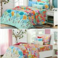 Bed cover set katun lokal halus City Garden size 160x200/180x200