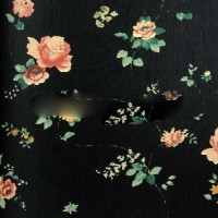 wallpaper bunga floral flower hitam shabby chic vintage (KING XTE3015)