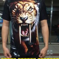 harga baju kaos distro spandex karakter macan taring panjang 3D murah bagus Tokopedia.com