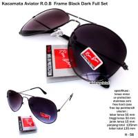 52fa018e60 kacamata unisex aviator R.O.B frame black dark fullset