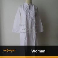 Gamis Ihrom Wanita Putih Bahan Katun Jepang Polos