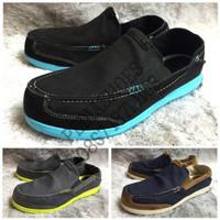 (GARANSI TERMURAH) Sepatu Pria Crocs Walu Luxe Canvas Loafer Original
