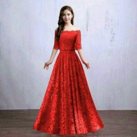 harga LONG DRESS / BAJU PESTA / DRESS BROKAT MERAH Tokopedia.com