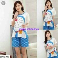 Stelan Doraemon / Stelan Baju Tidur Wanita / Baju Tidur Pendek / Sb