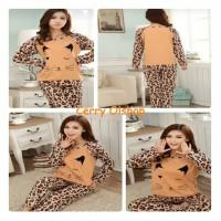 Stelan Cute Leopard-stelan Baju Tidur Wanita Panjang-sb