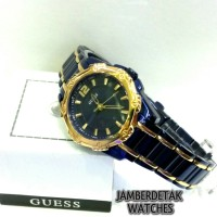 guess w0234l4 / jam tangan guess original / wanita / biru / gold