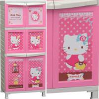 harga Lemari Plastik Pakaian Baju Anak Napolly 3 Susun Hello Kitty Pink Tokopedia.com