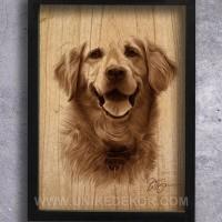 Poster Hiasan Dinding Unik Gambar Anjing Kesayangan Golden Retriever