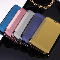 Casing Cover HP SAMSUNG GALAXY S5 Flip Case Mirror