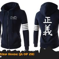 Jual Jaket Anime One Piece Marine 4-Strip Jacket Hoodie (JA OP 28) Murah