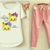 baju setelan wanita dewasa FL ST Kitty Vintage