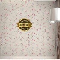 Wallpaper Dinding Kamar Motif Bunga Pink Ukuran 45 cm x 10 meter