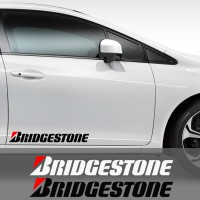 Sticker Kaca Pintu Mobil Bridgestone 60 Logo Racing Ban Cutting Stiker