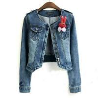 jaket jeans wash lea girl zipper good quality