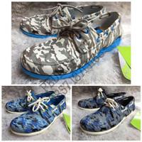 (GARANSI TERMURAH) Sepatu Pria Crocs Beach Line Boat Army Original