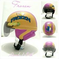 Helm Anak Chip Retro Kulit Klasik Motif Frozen Crem Ungu