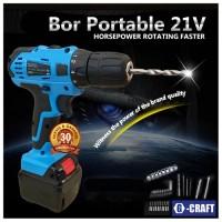 Jual Bor Portable G-Craft 21v, Super Power, 2 Speed (Hi or Low), Murah Murah