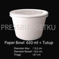 Paper Bowl / mangkuk kertas / piring kertas 650 ml + tutup