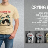 Kaos 9gag Crying Face T-Shirt Raglan Distro Meme Comic