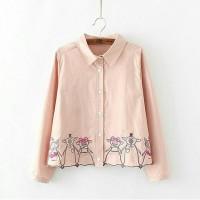 PIGGI PEACH (OP3110)/atasan blouse kemeja lengan panjang murah cantik