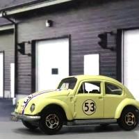 volkswagen beetle herbie kuning muda skala 1/64 by cityca