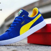SEPATU PUMA SNEAKERS SUEDE MAN BLUE YELLOW IMPORT