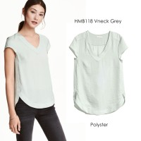 H&M HM Blouse hnm vneck Grey and White