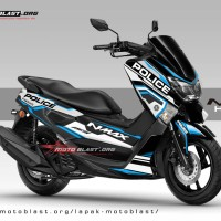 Decal stiker Yamaha NMAX Black Police Hitech blue