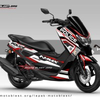 Decal stiker Yamaha NMAX Black Police Hitech red