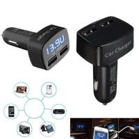 harga Cas Mobil / Car Charger 4in1-Voltmeter-AmpereMeter-Temperatur-3.1A Tokopedia.com