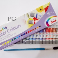 PENTEL ARTS WATER COLOURS 12 / PENTEL CAT AIR 12 WARNA (LUSINAN)