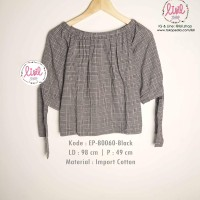 Baju Wanita/Atasan Kotak Hitam Cewek/Blouse Sabrina Pita Katun Import