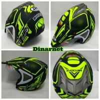 Helm Semi Cross Double Visor Semi Trail Motocross Shocker Kuning dof