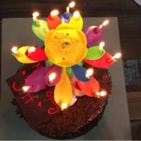 Jual lilin ulang tahun - flower musical rotating candle 2 layer Murah