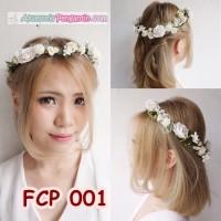Jual Flower Crown Putih Pesta Pengantin l Aksesoris Mahkota Bunga - FCP 001 Murah