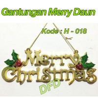 Aksesoris Natal / Ornamen Natal / ( Gantungan Merry Daun) Hiasan Natal