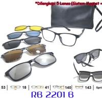 Frame Kacamata Casual Clipon 5 Lensa Laki Cowo Cewe Baca Minus Rb2201