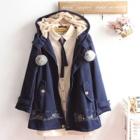 City Embroidery Coat Cute Jacket Jaket Lucu Japan Korean Style