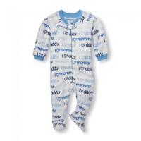 Baju place banket sleeper anak 9-24 Month I Love Mom n Dad Blue