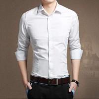 Jual Kemeja Putih Polos Pria SlimFit Lengan Panjang [kemeja basic putih OT] Murah