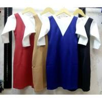 harga DRESS 1055 | Dress Bodycon Olla Ramlan Kombinasi Putih Lengan Panjang Tokopedia.com