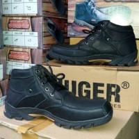 Sepatu Boot Pria Kulit Sapi Asli JUGER Hitam Murah Branded Casual