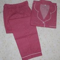 baju tidur dewasa little star lengan pendek/celana panjang red