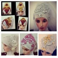 headpiece hijab pengantin mewah